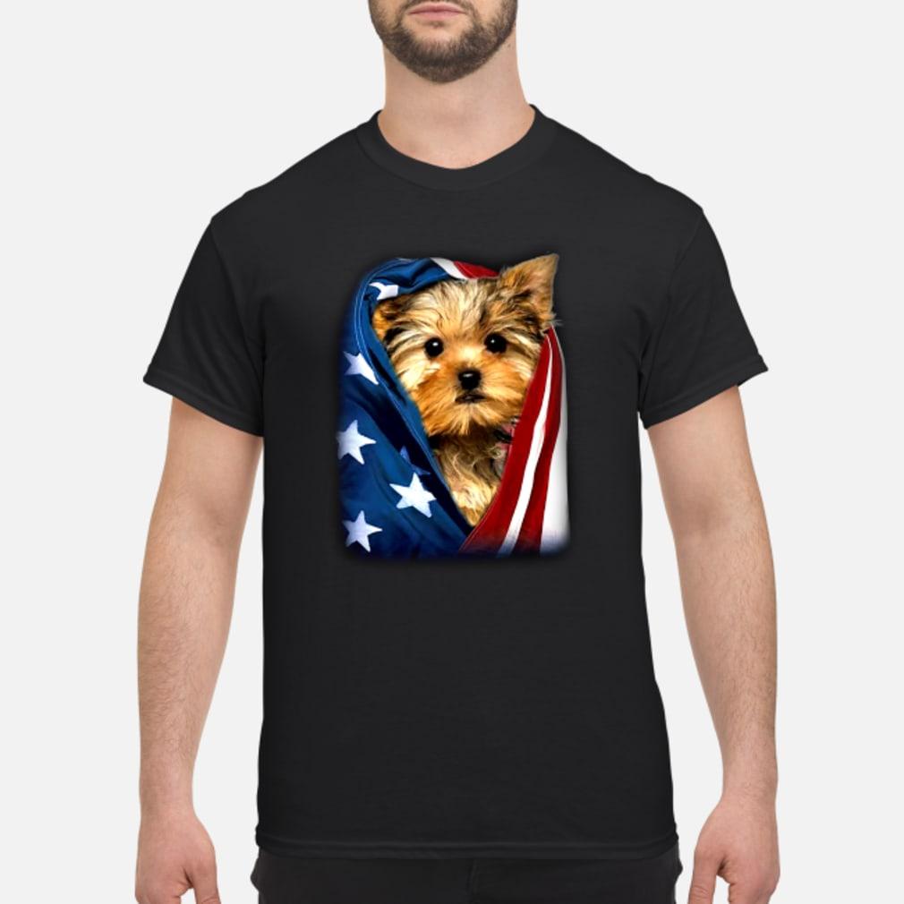 Yorkshire Dog american flag shirt