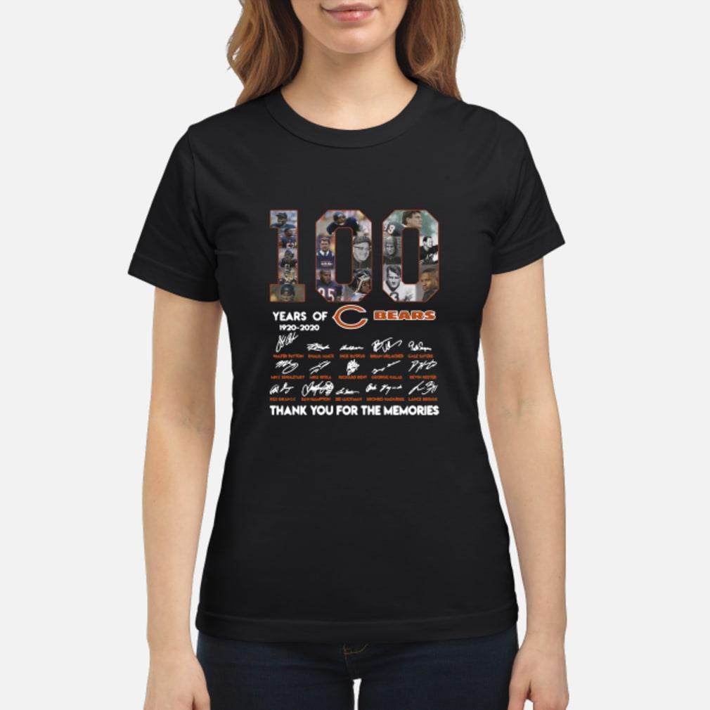 100 years of 1920-2020 Chicago Bears signatures shirt ladies tee