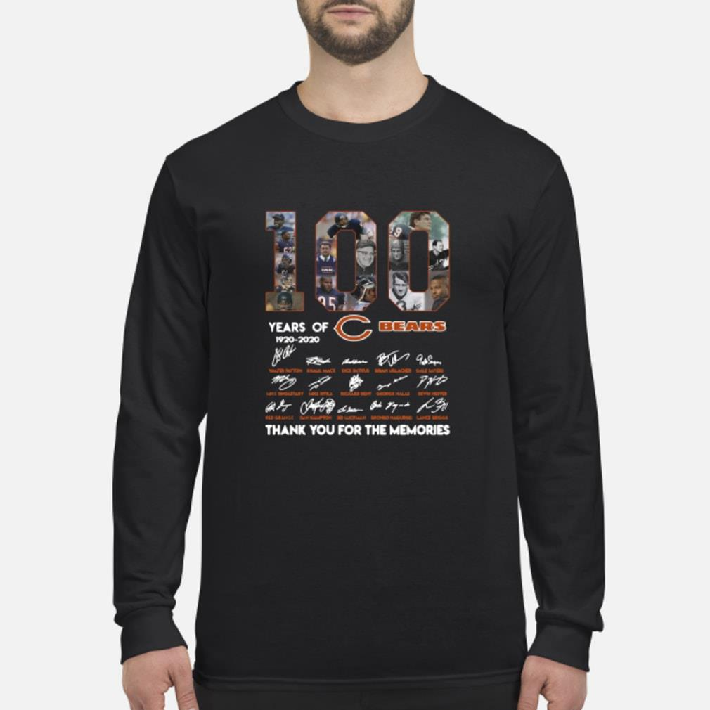 100 years of 1920-2020 Chicago Bears signatures shirt Long sleeved