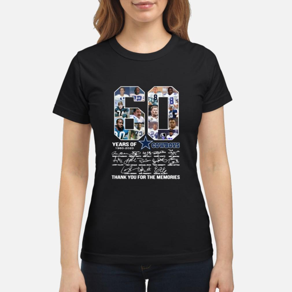 60 Years Of Dallas Cowboys 1960-2020 signatures shirt ladies tee