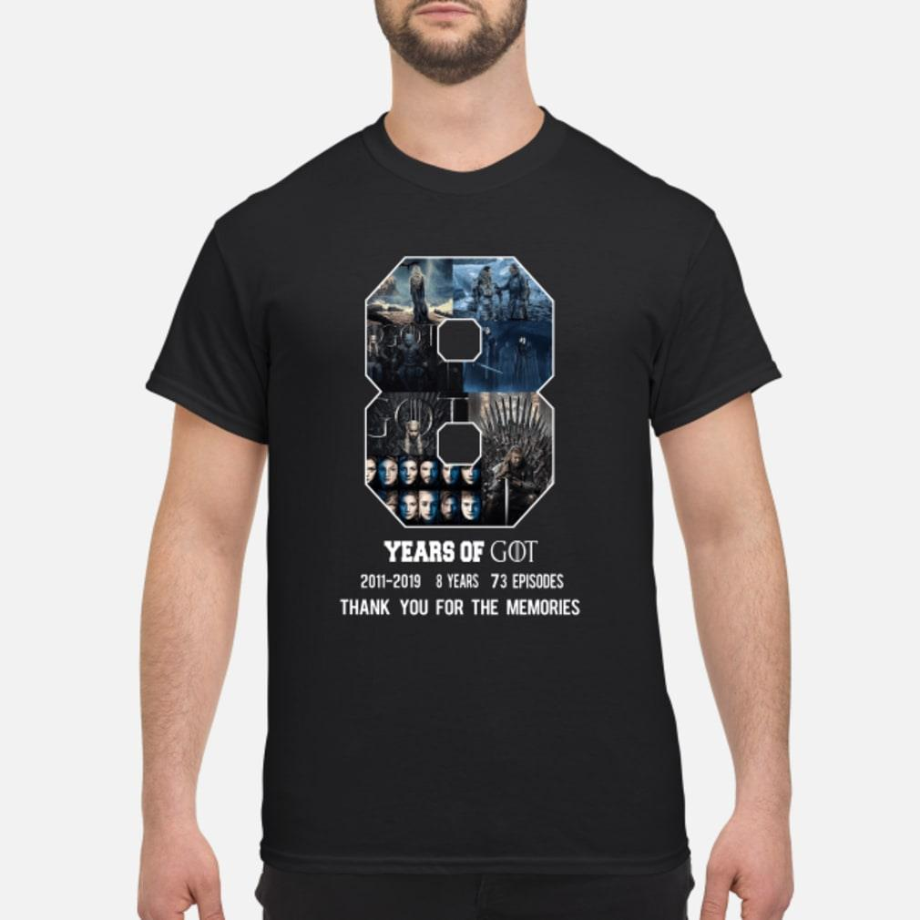 8 Year of Game Of Thrones 2011-2019 8 season thank you shirt
