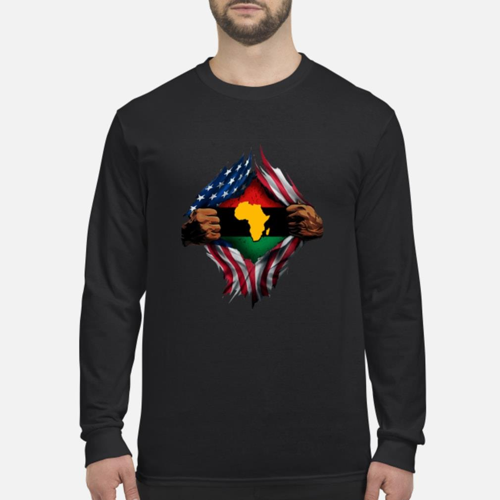African Inside American Flag Shirt Long sleeved