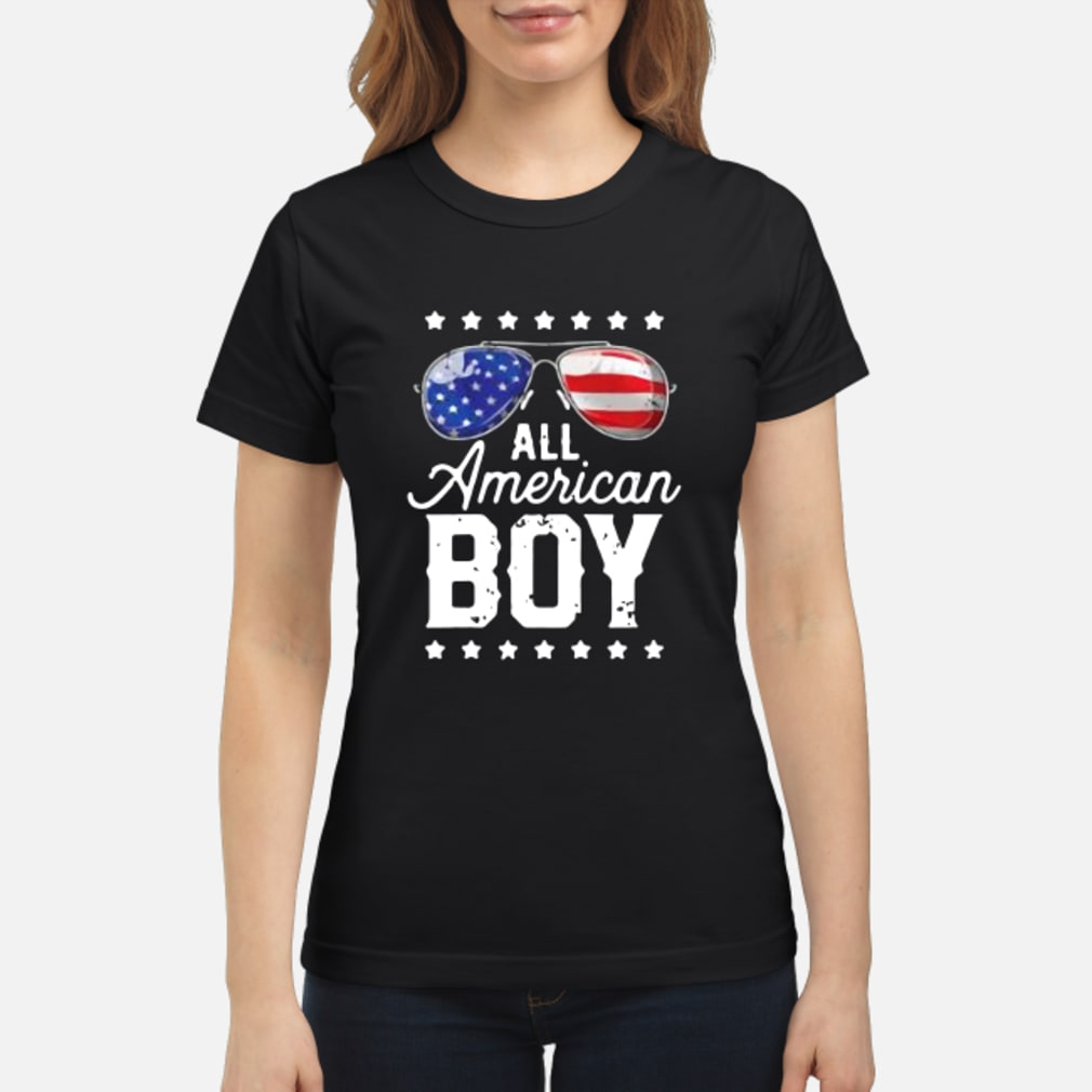 All American Boy 4th of July Shirt ladies tee