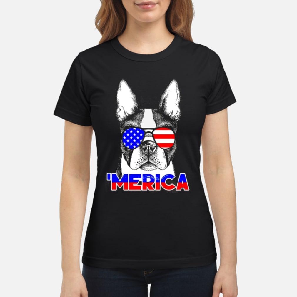 America Boston Terrier Shirt ladies tee