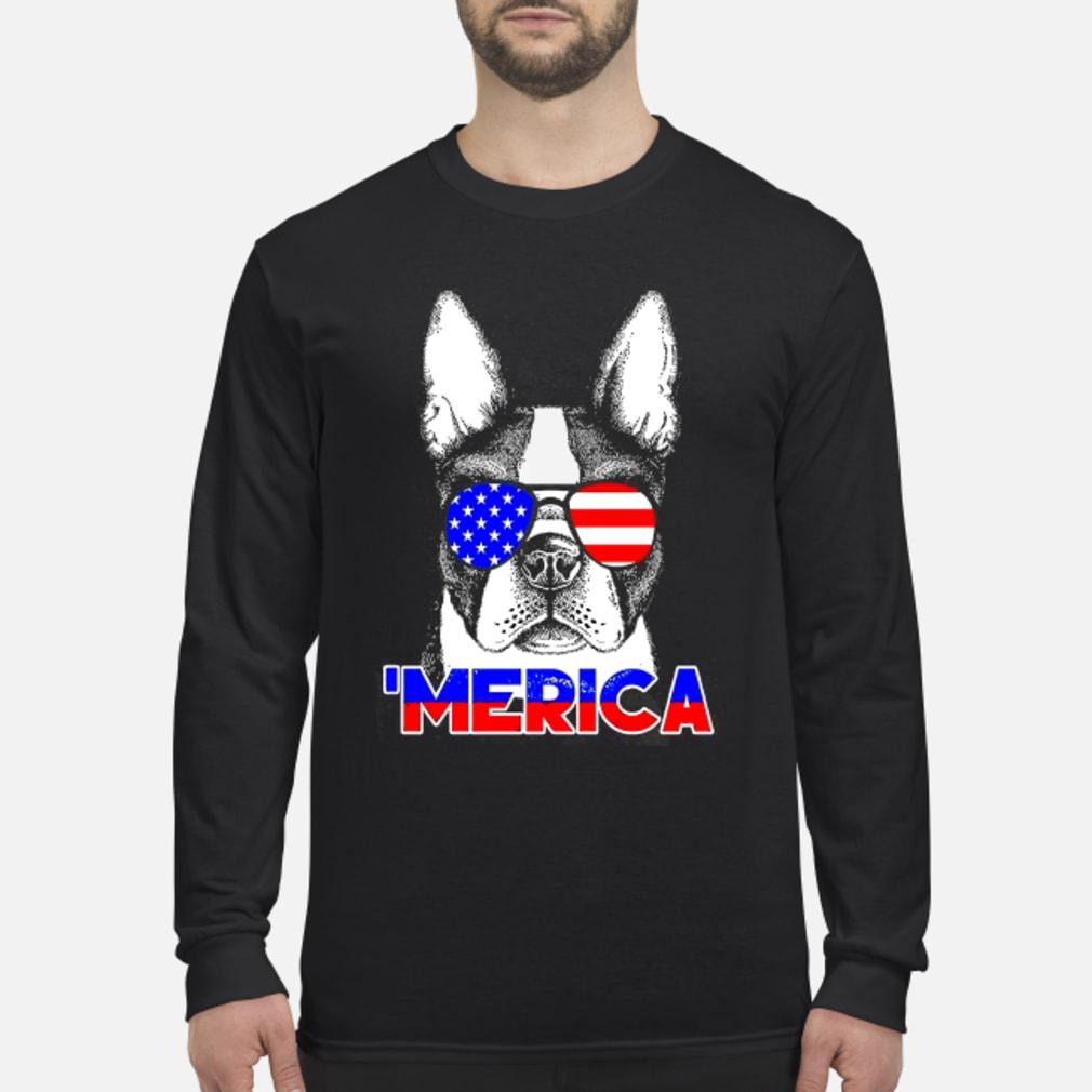 America Boston Terrier Shirt Long sleeved