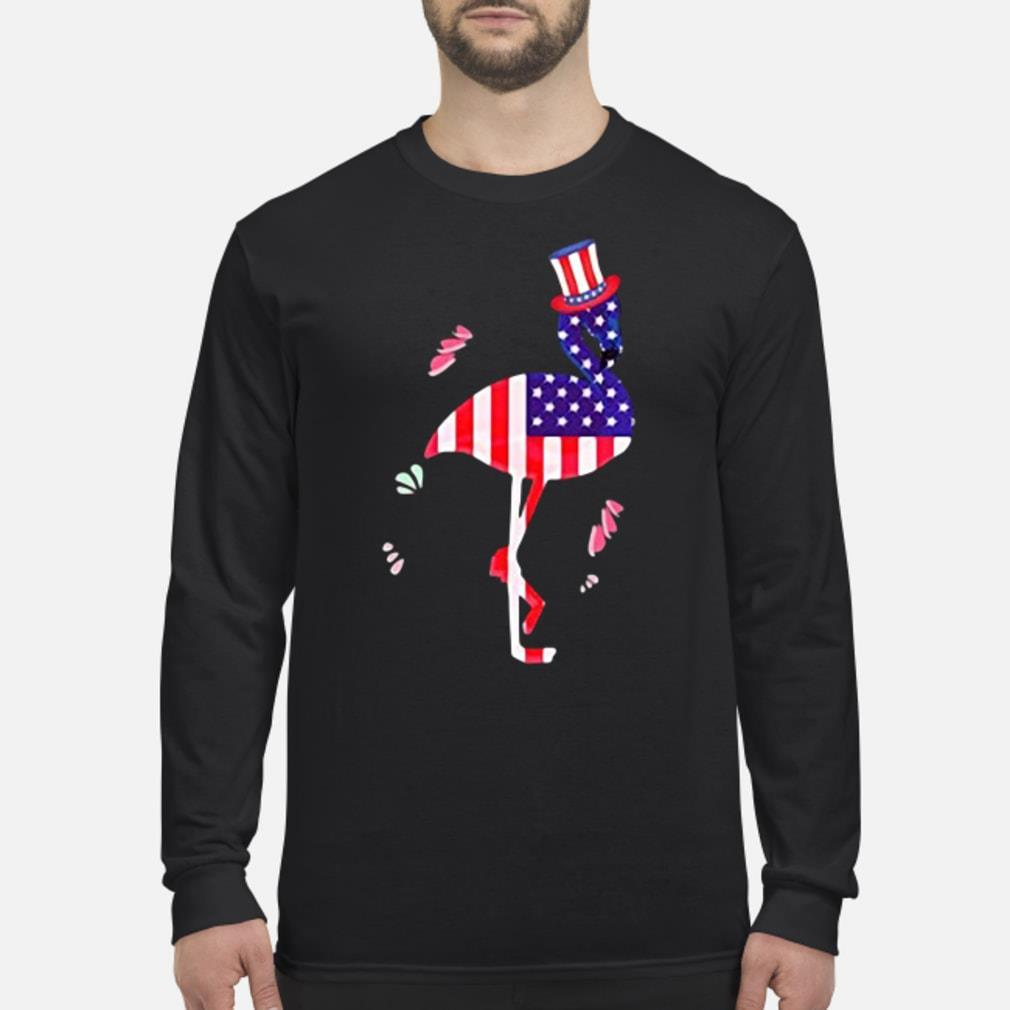American Flag  Flamingo 4th of July shirt Long sleeved