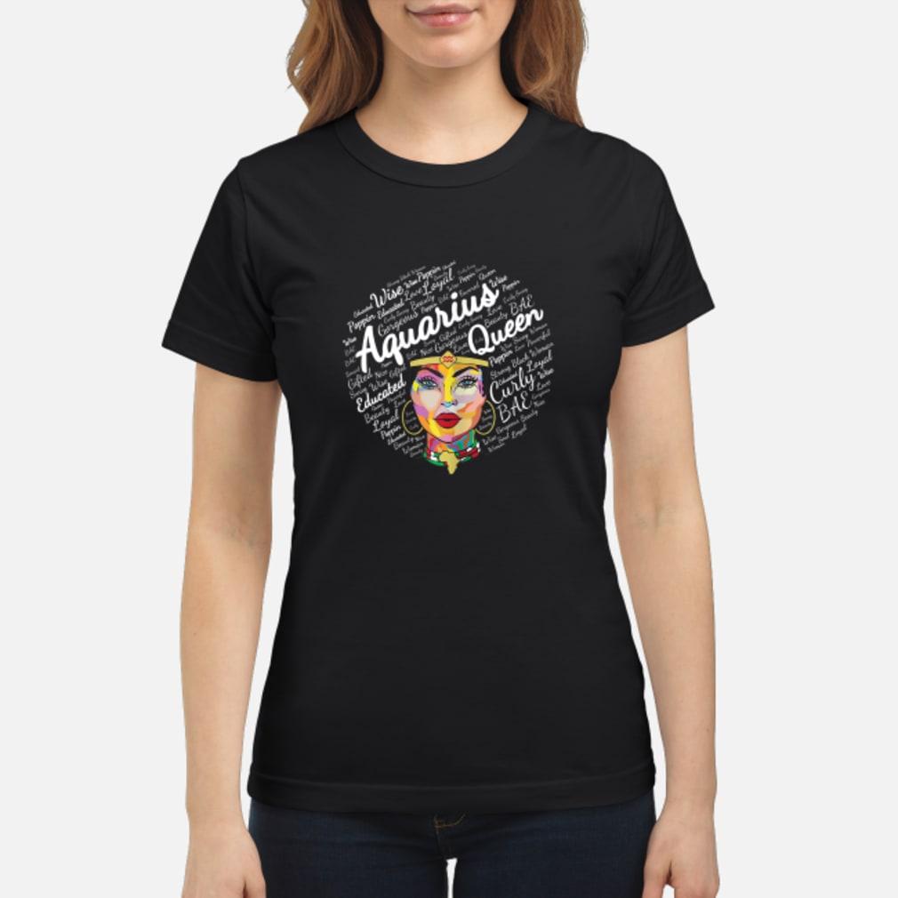 Aquarius Black Queen Black Afro Zodiac Shirt ladies tee