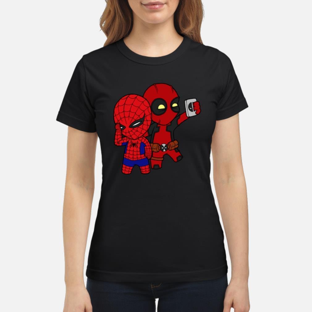 Baby Deadpool and Spiderman shirt ladies tee