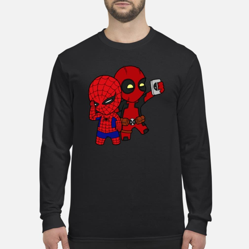 Baby Deadpool and Spiderman shirt Long sleeved