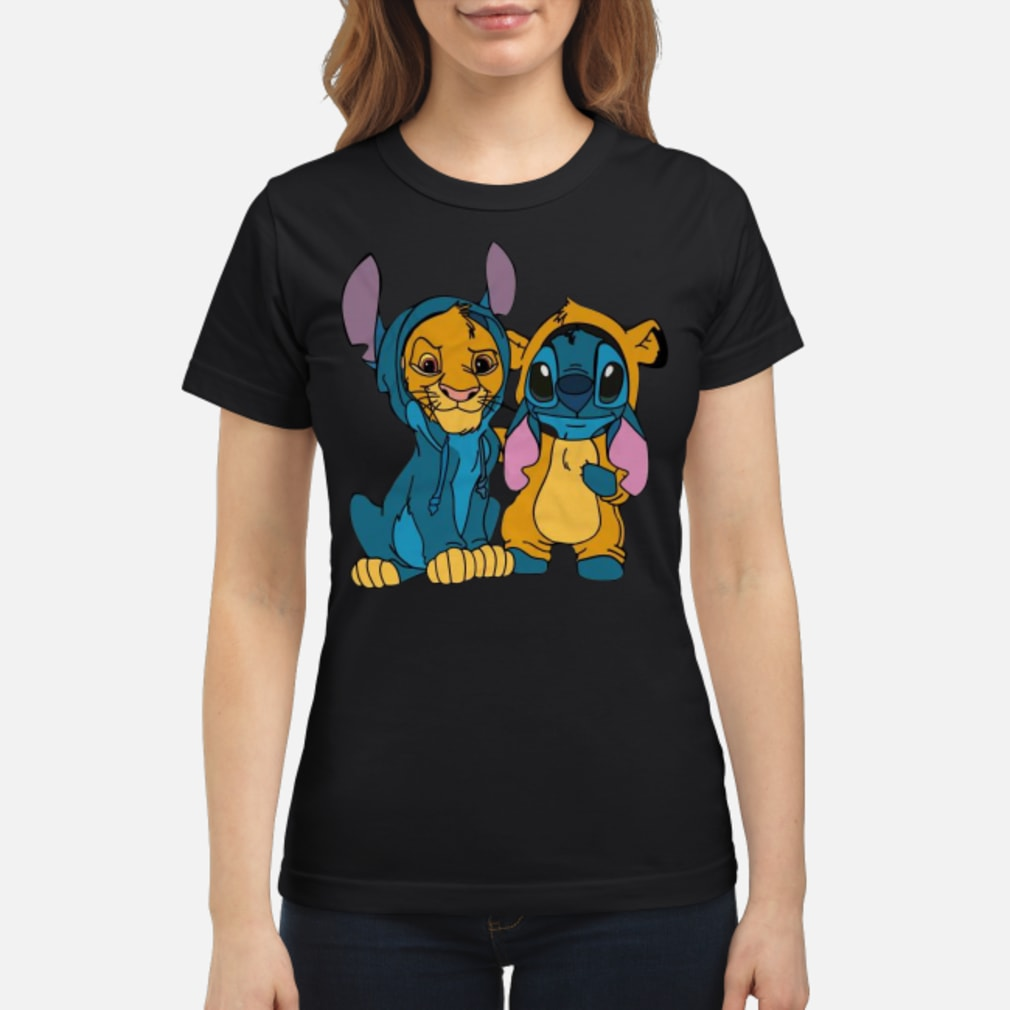 Baby simba and baby stitch best friend shirt ladies tee