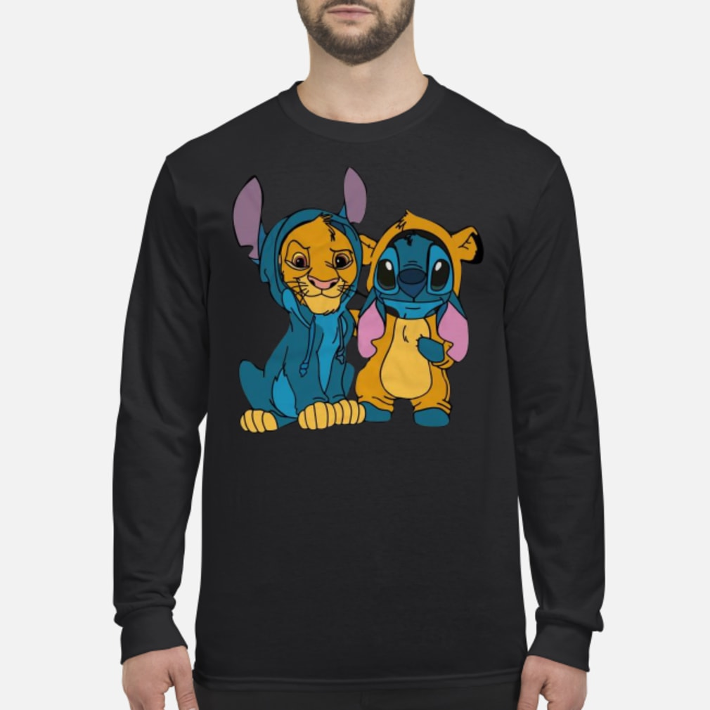 Baby simba and baby stitch best friend shirt Long sleeved