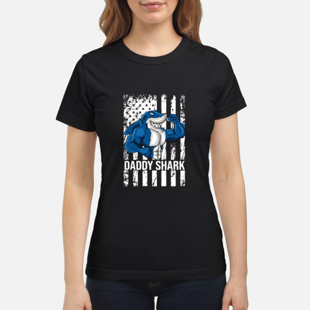 Daddy shark American flag shirt ladies tee
