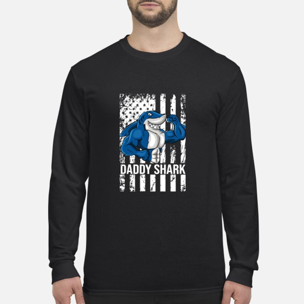 Daddy shark American flag shirt Long sleeved