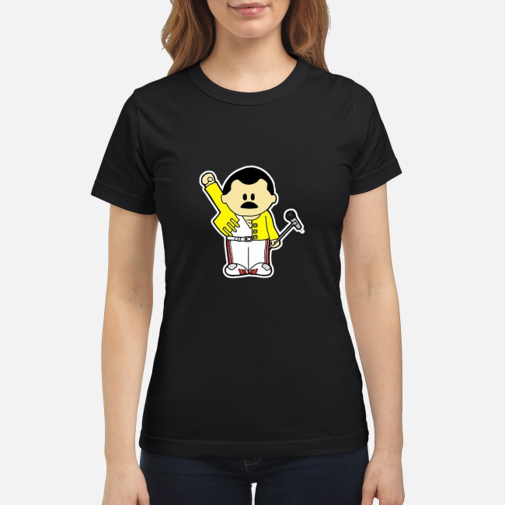 Freddie Mercury Queen Inspired Cartoon Adults shirt ladies tee