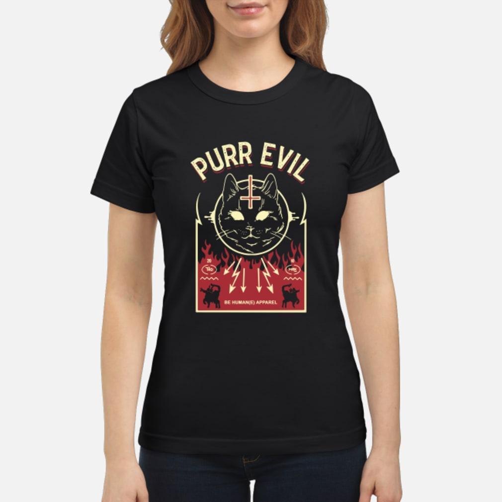 Purr Evil Satanic Cat shirt ladies tee