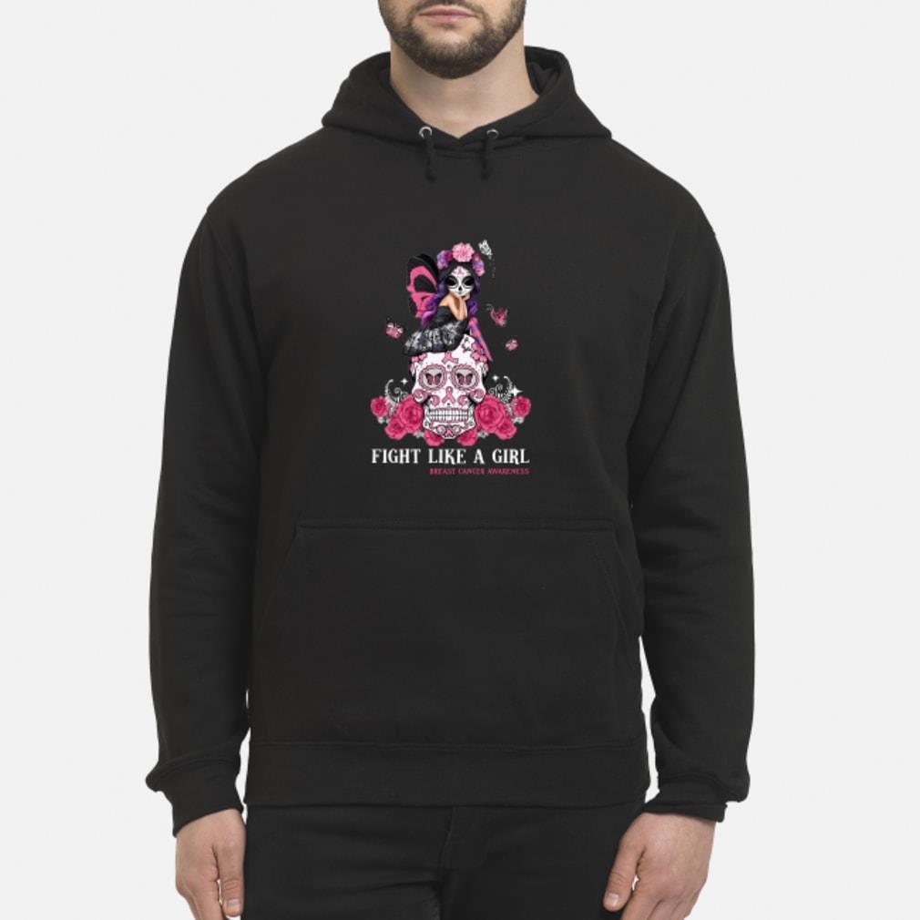 Skull fight like a girl breast cancer awareness shirt hoodie