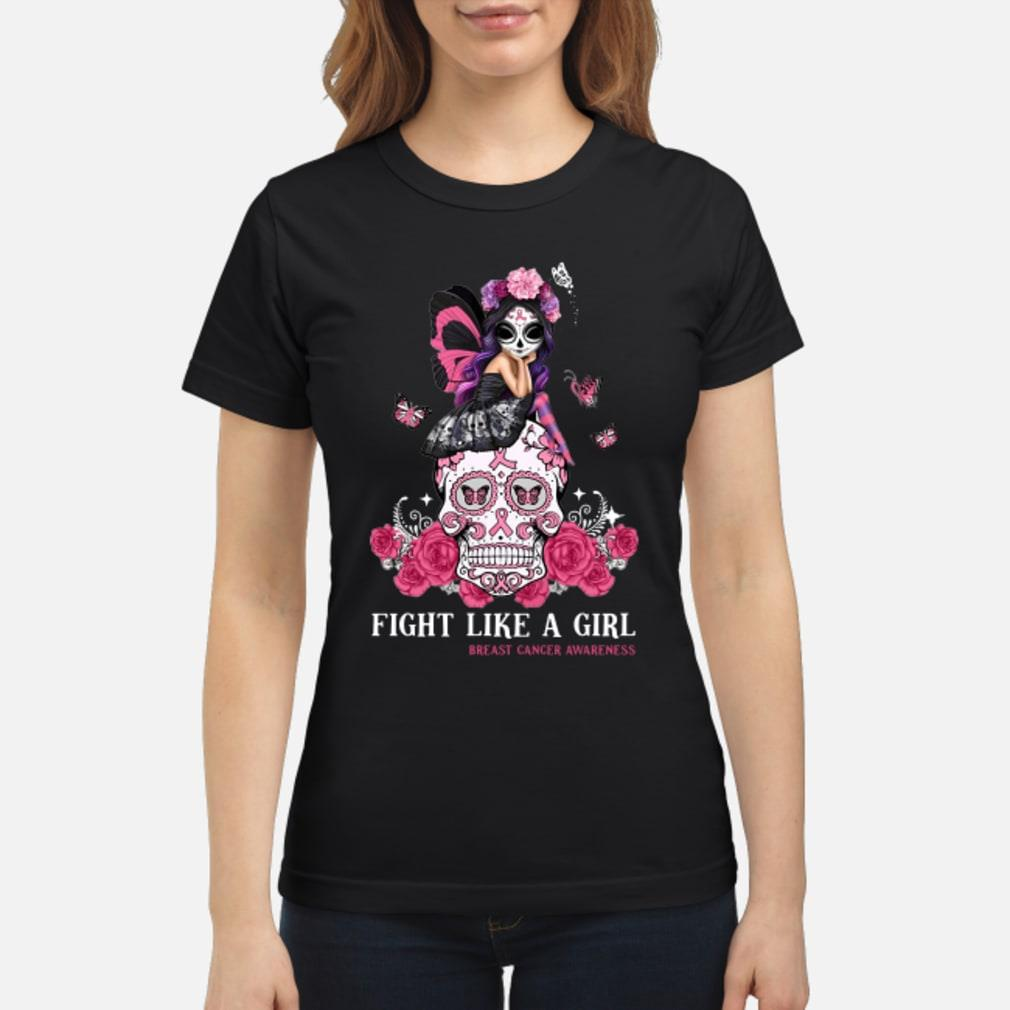 Skull fight like a girl breast cancer awareness shirt ladies tee
