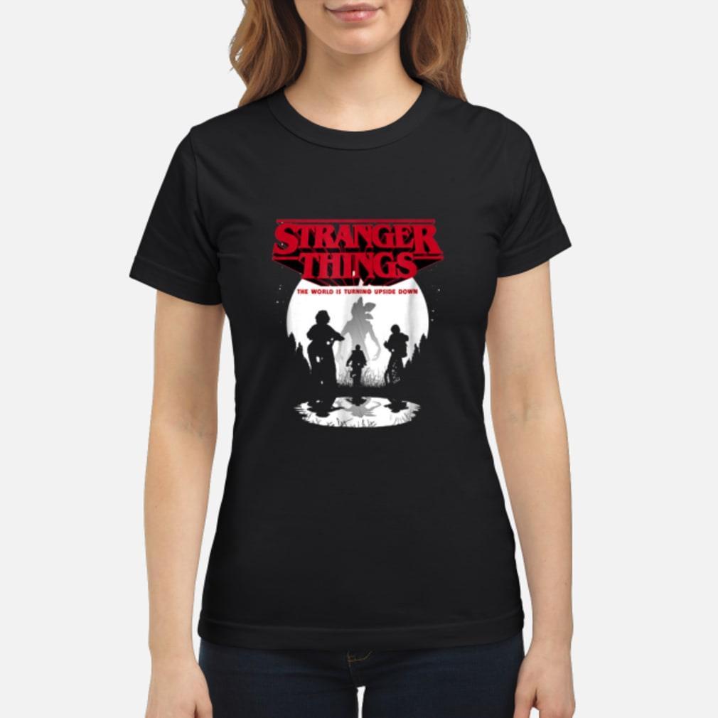 Stranger Things The World Is Turning Upside Down shirt ladies tee