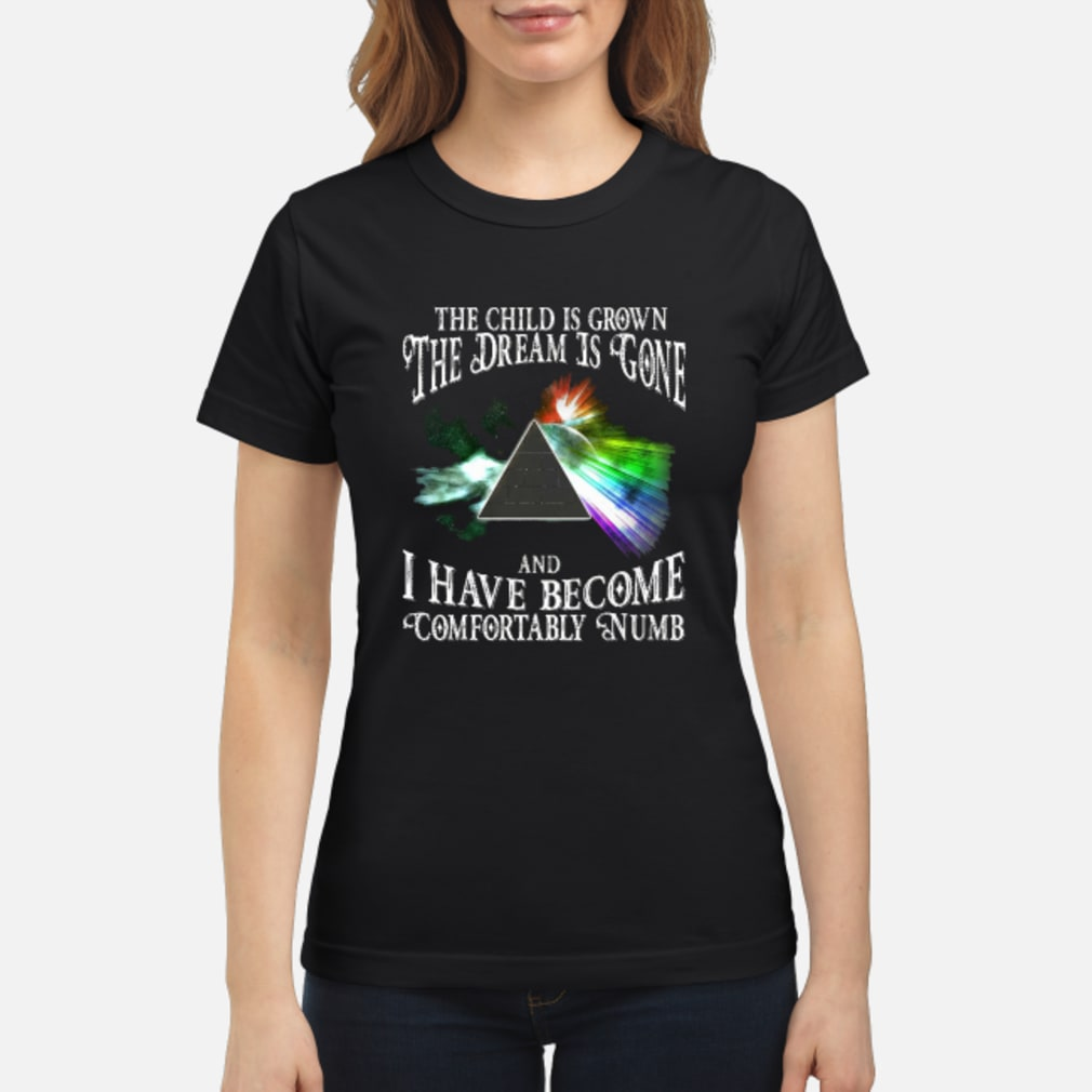 The child is grown the dream is gone and I have become comfortably numb shirt ladies tee