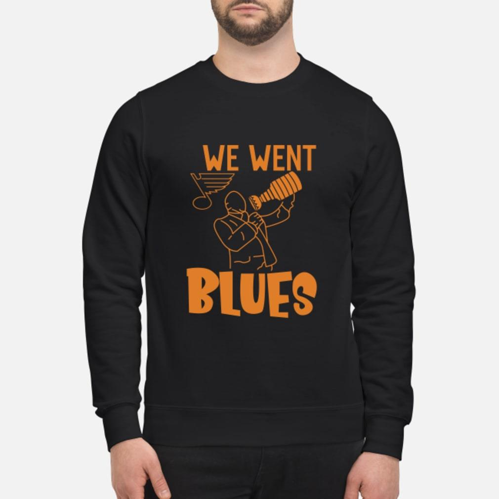 We went blues shirt sweater