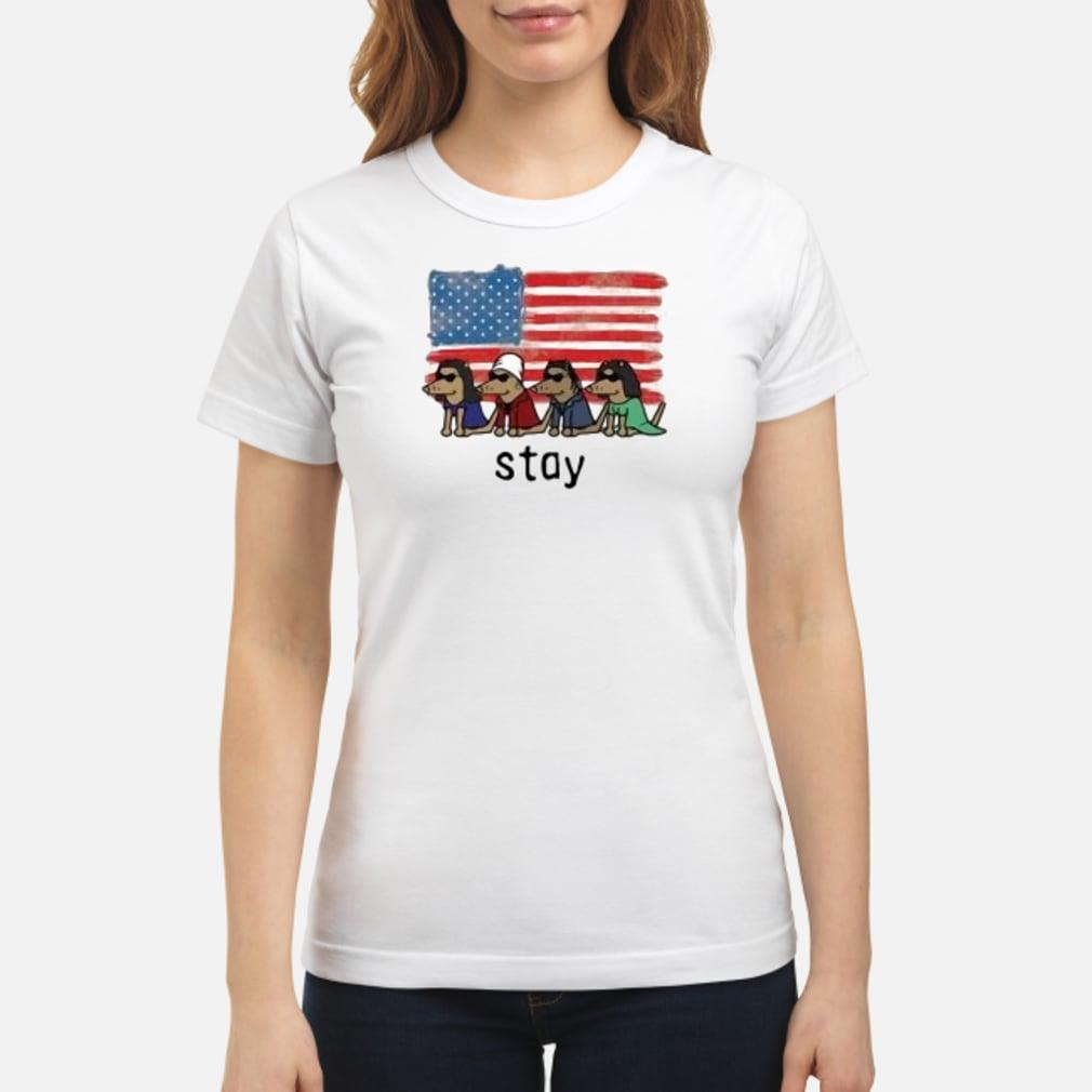 Dogs American flag stay shirt ladies tee