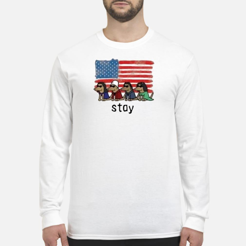 Dogs American flag stay shirt Long sleeved