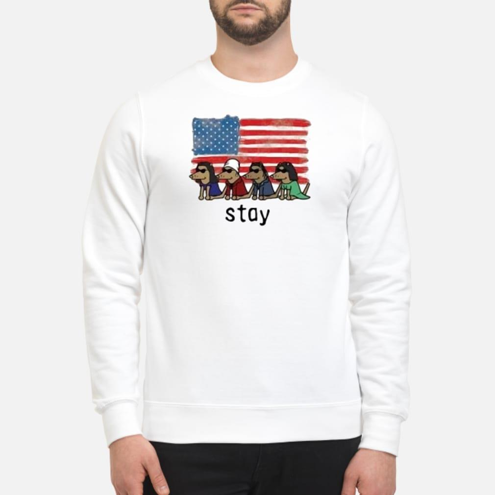 Dogs American flag stay shirt sweater