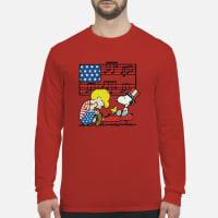 Schroeder playing piano Woodstock and Snoopy 4th of July shirt long sleeved