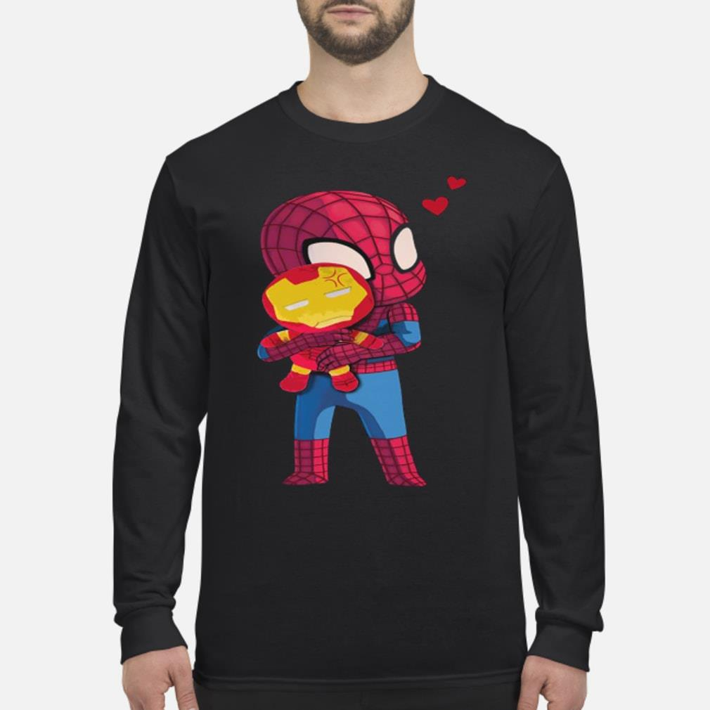 Spider Man Hug Baby Iron Man Shirt Long sleeved