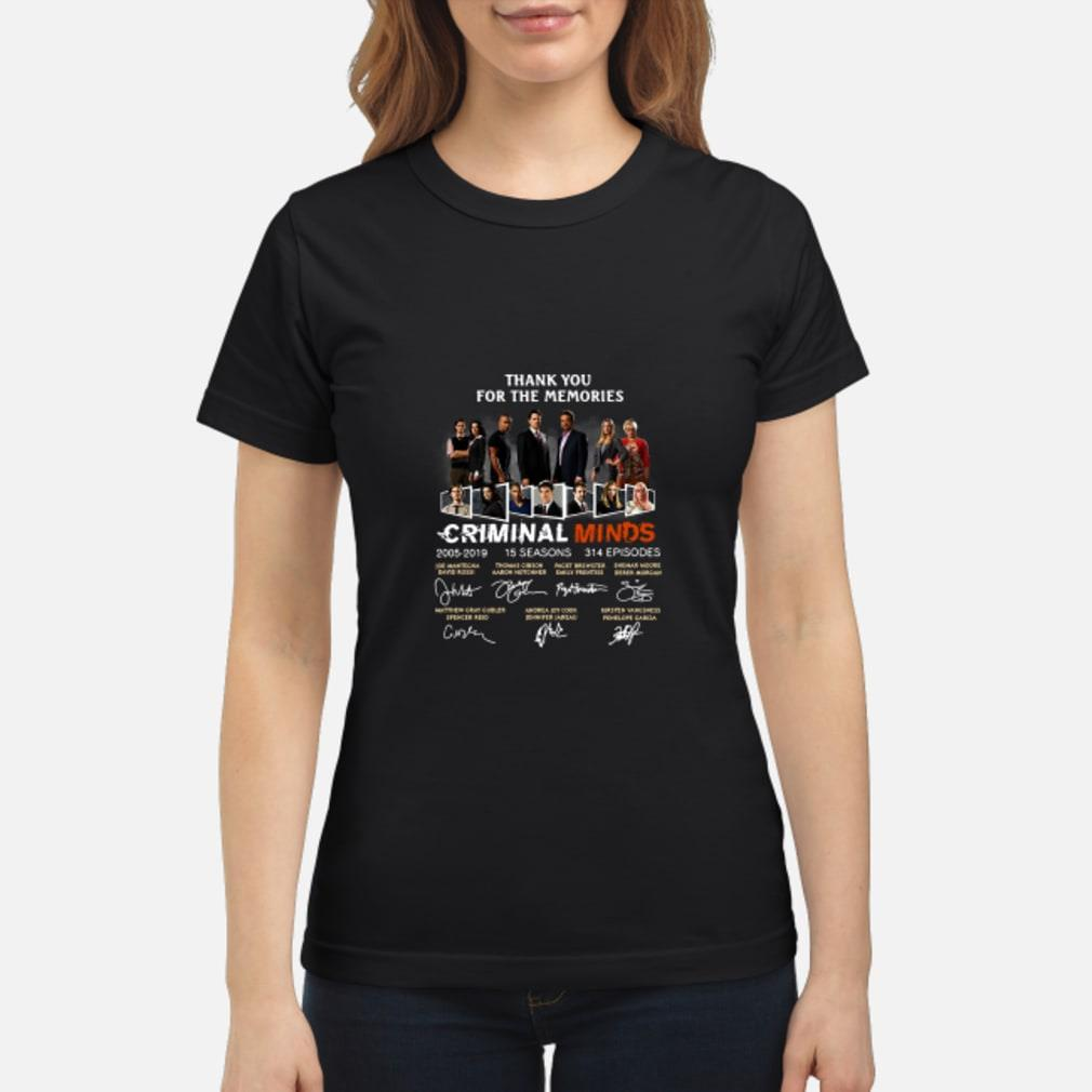 Thank You For The Memories Criminal Minds Signature Shirt ladies tee