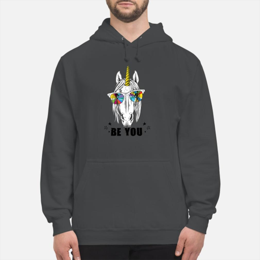 Unicorn yellow horn color be you shirt hoodie