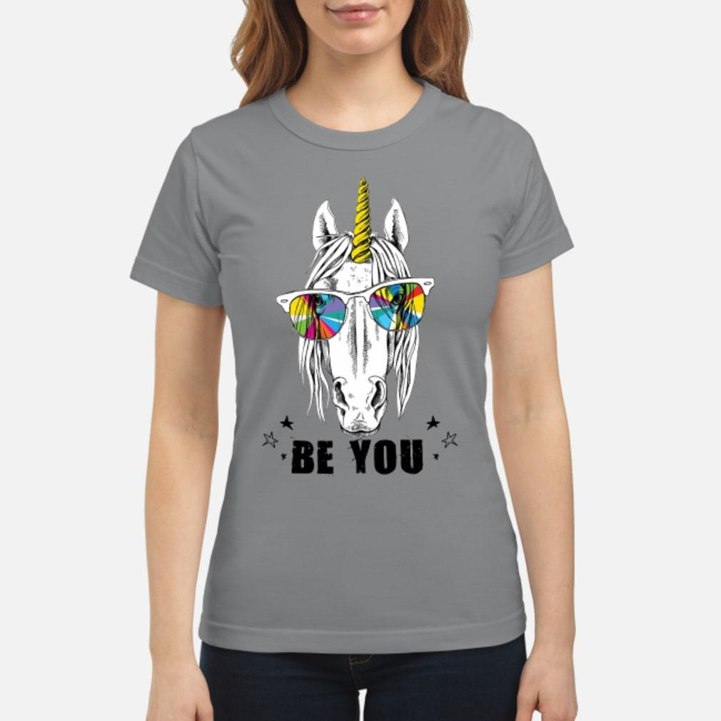 Unicorn yellow horn color be you shirt ladies tee