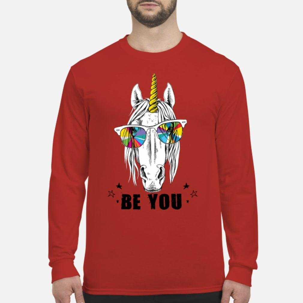 Unicorn yellow horn color be you shirt Long sleeved