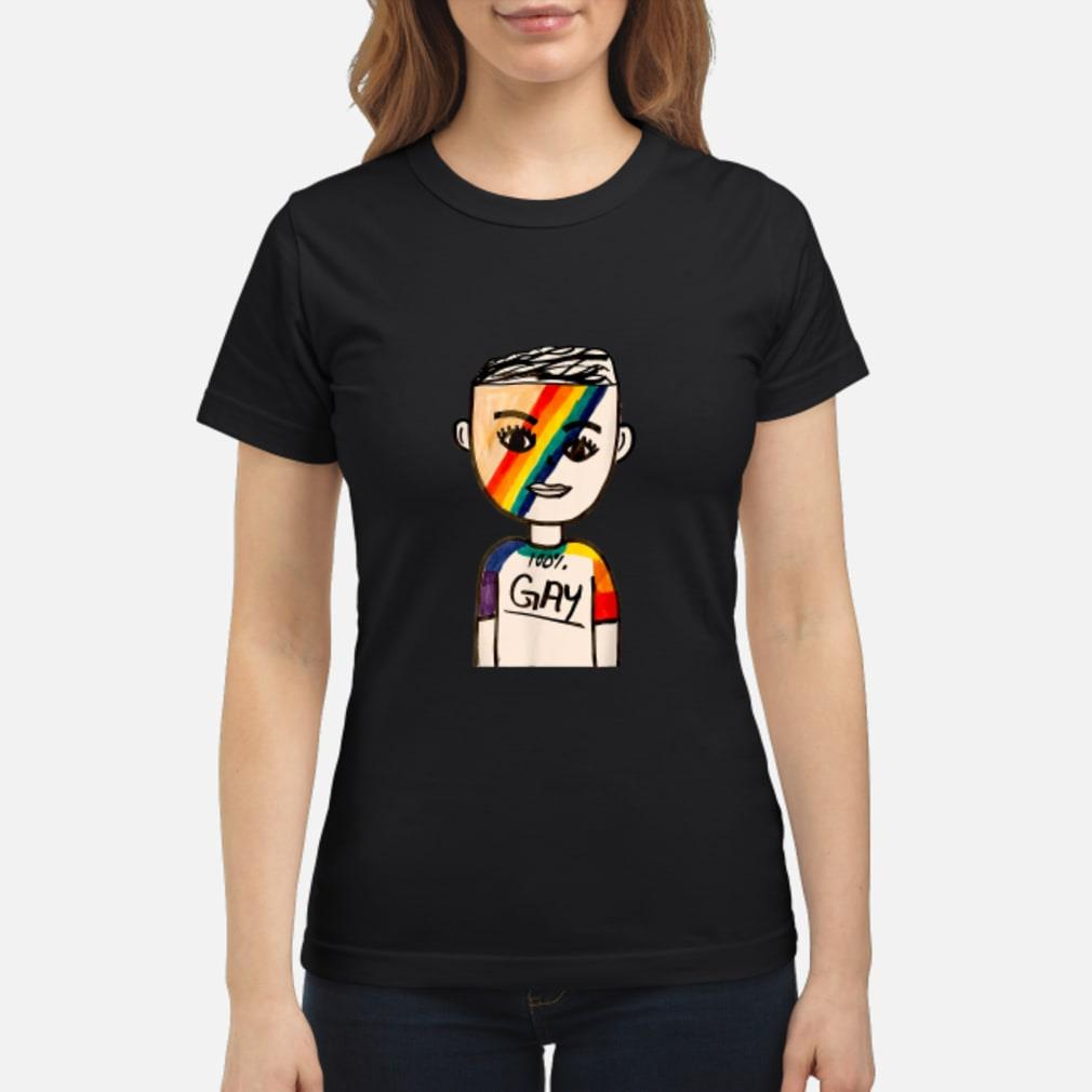 100% Gay LGBT Shirt ladies tee