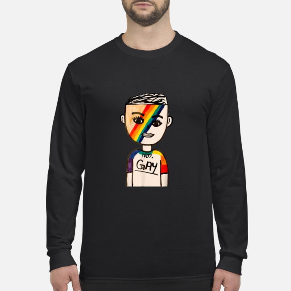 100% Gay LGBT Shirt Long sleeved