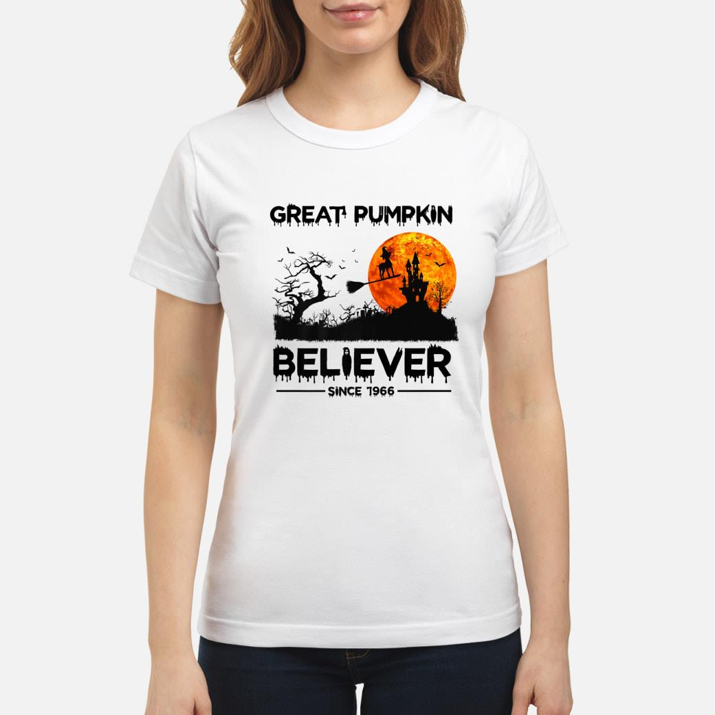 Great Pumpkin Believer Since 1966 Funny Dog Halloween Premium T-Shirt ladies tee