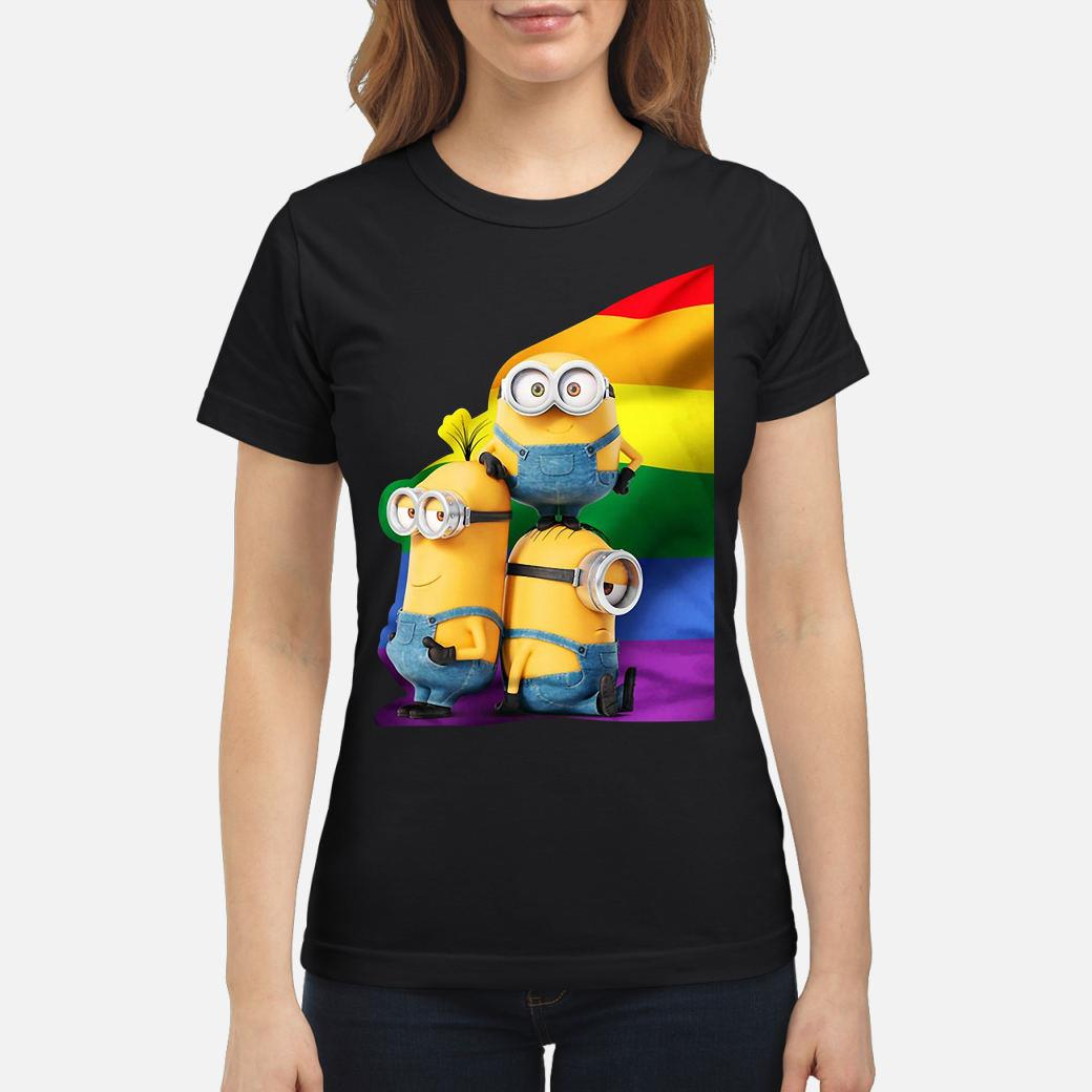 Minions and LGBT rainbow Shirt ladies tee