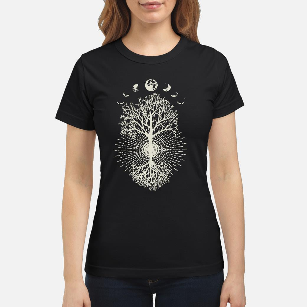 Phases of the Moon Tree shirt ladies tee