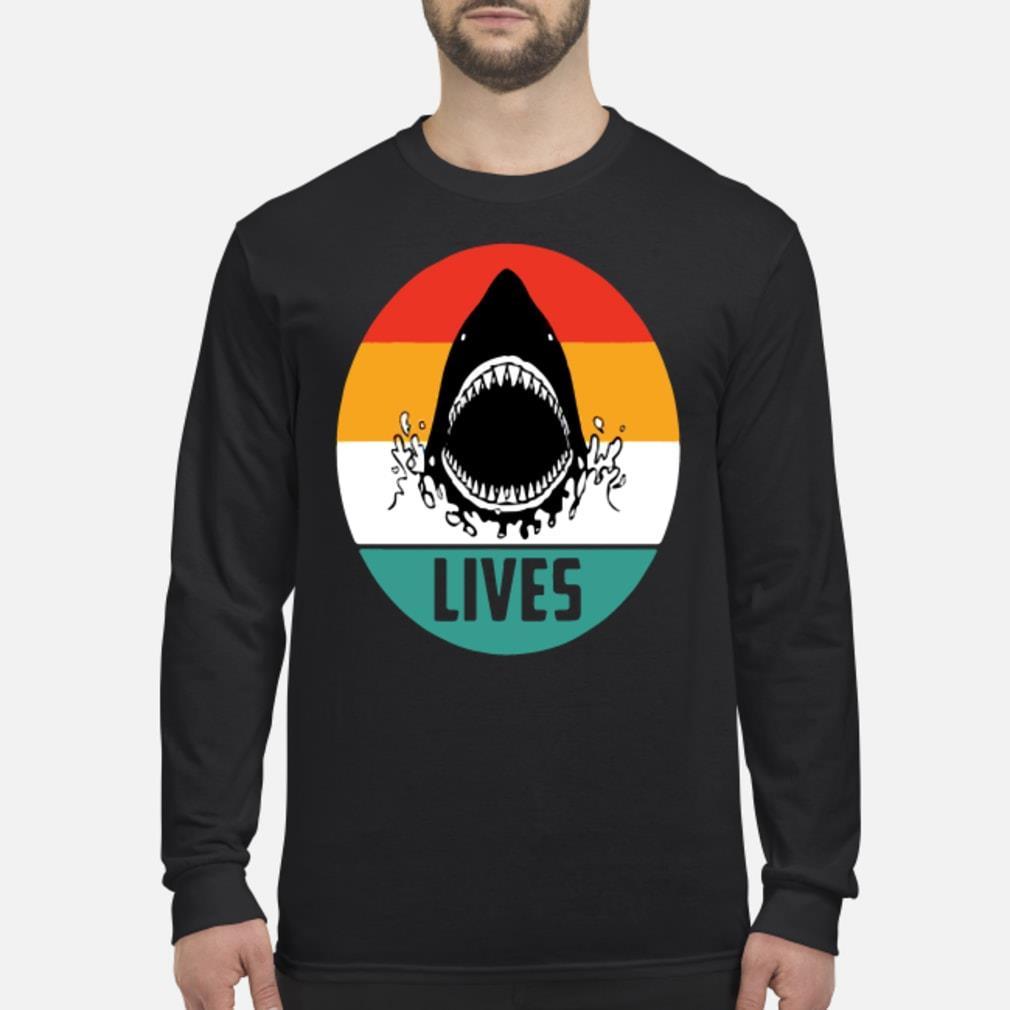 Retro shark lives vintage shirt Long sleeved