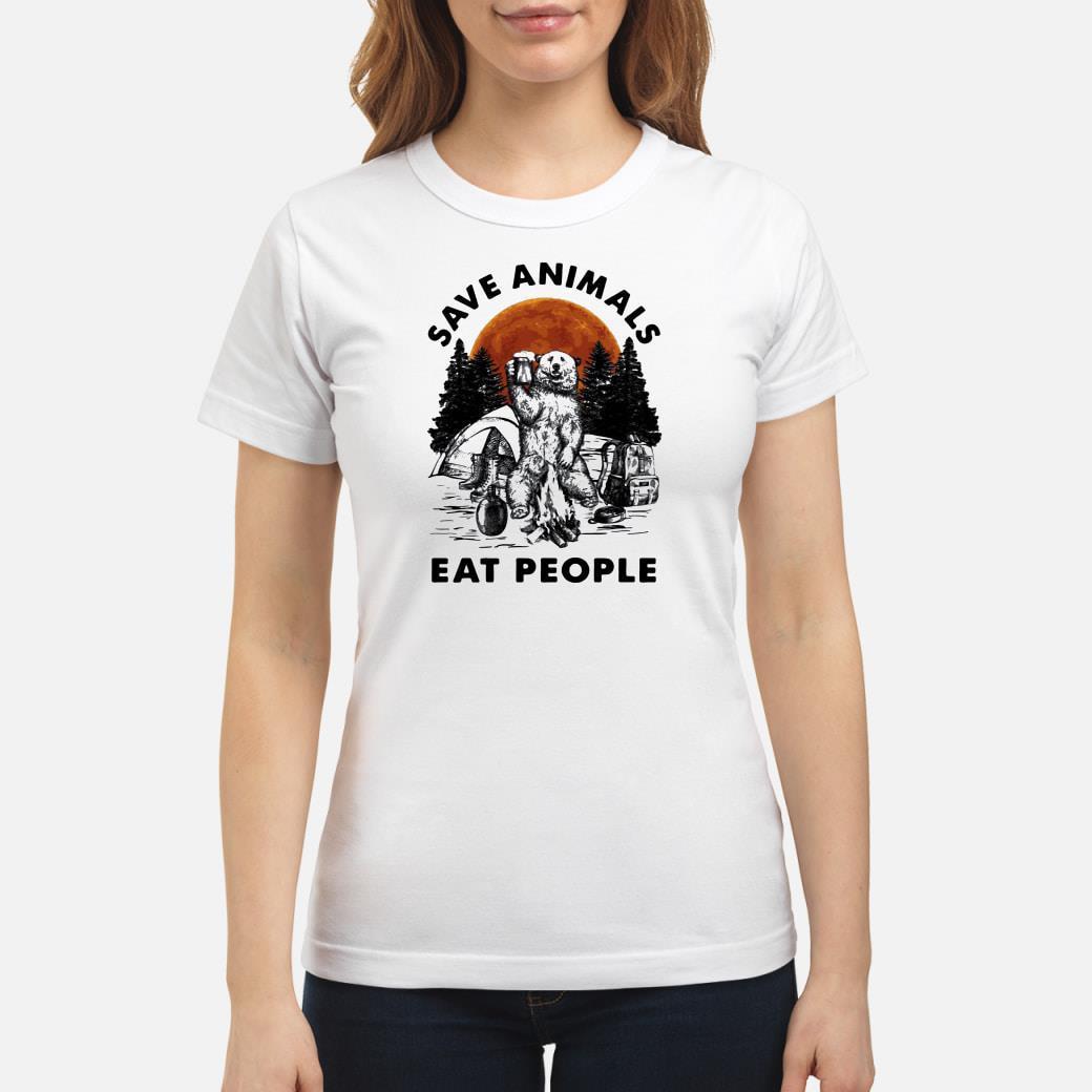 Save animals eat people shirt ladies tee