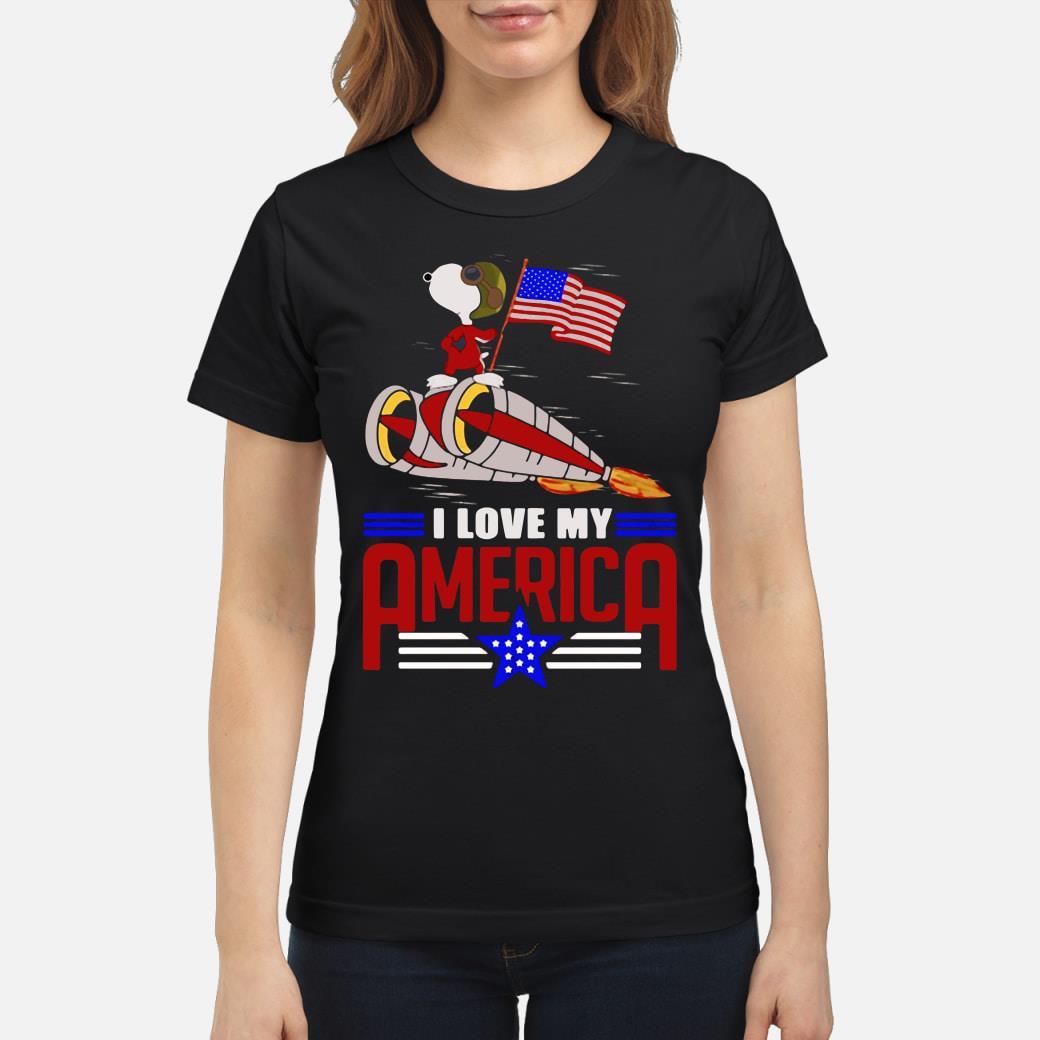 Snoopy I love my America shirt ladies tee