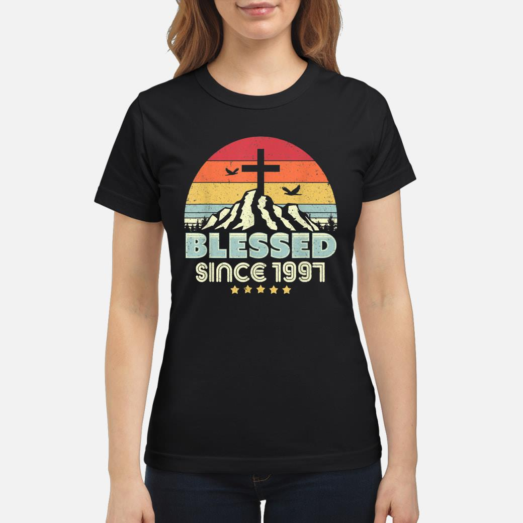 Vintage Christian Birthday Gift Blessed Since 1997 Shirt ladies tee