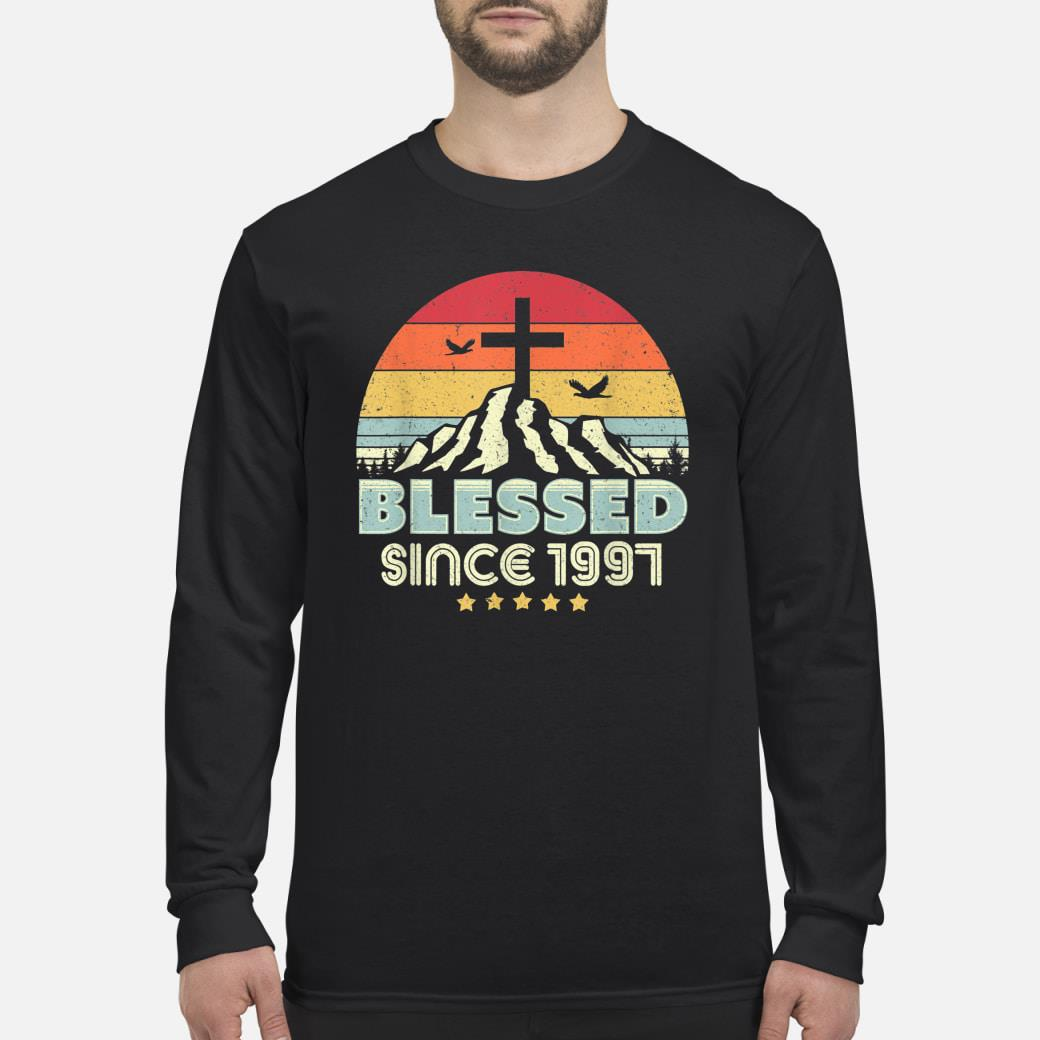 Vintage Christian Birthday Gift Blessed Since 1997 Shirt Long sleeved