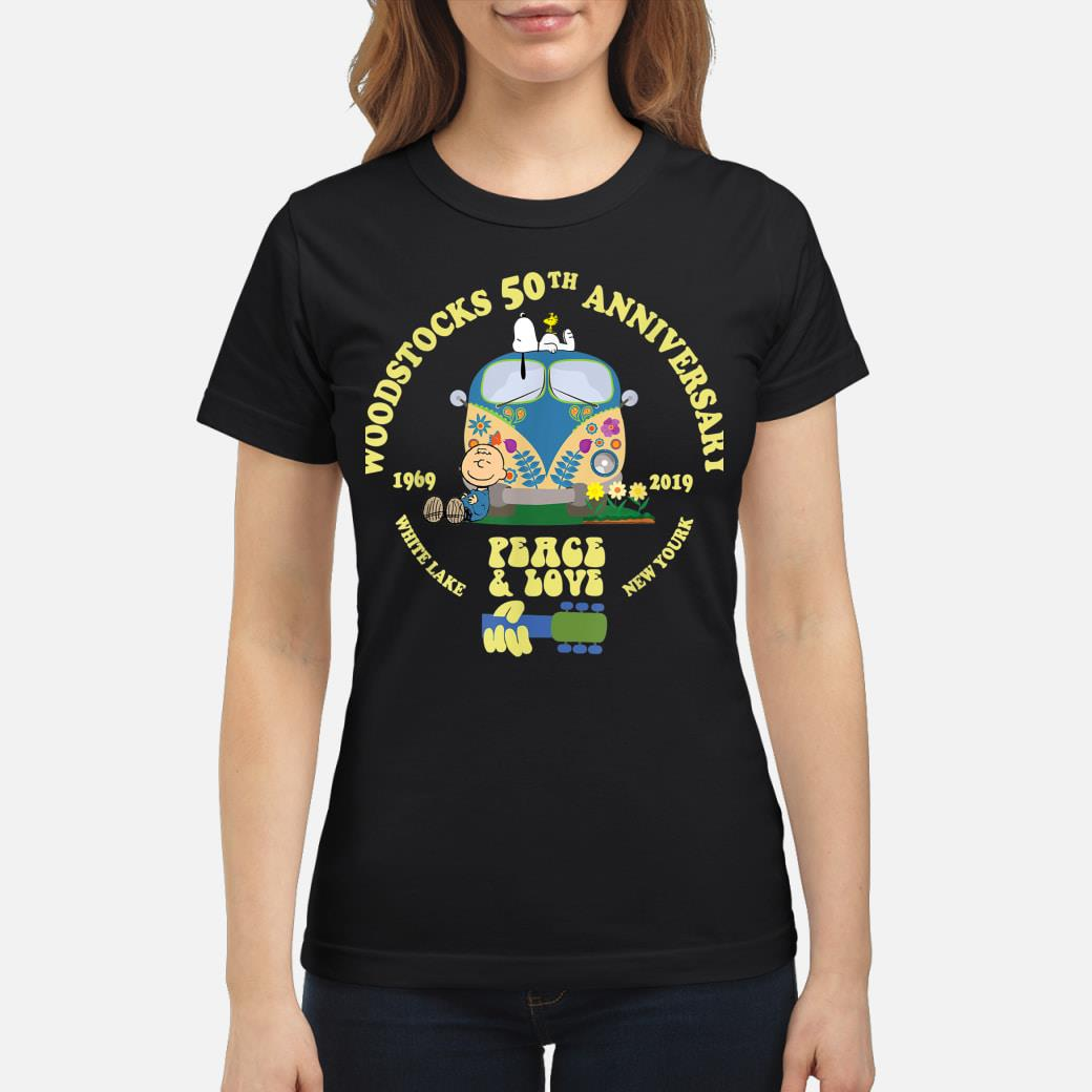 Woodstocks 50th Anniversary Peace Love shirt ladies tee