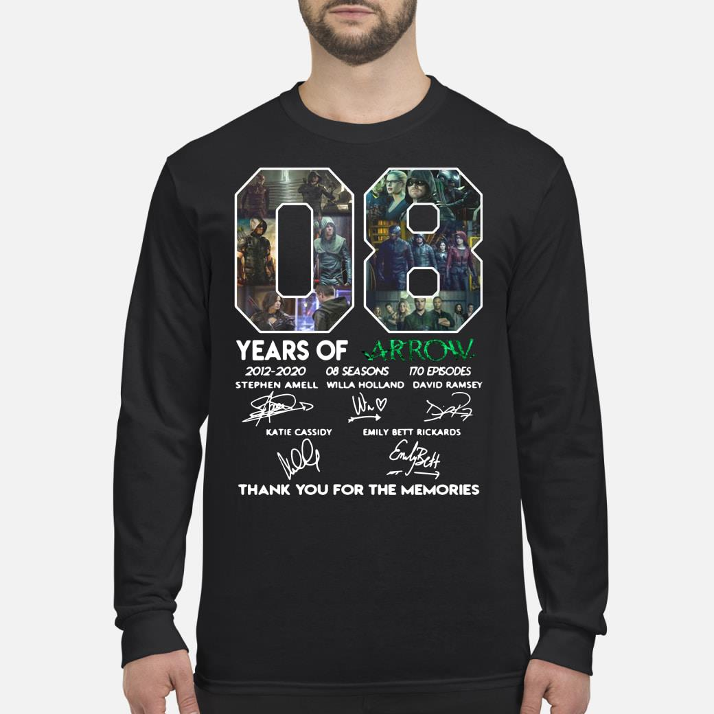 08 Years of Arrow thank you for the memories signature shirt Long sleeved