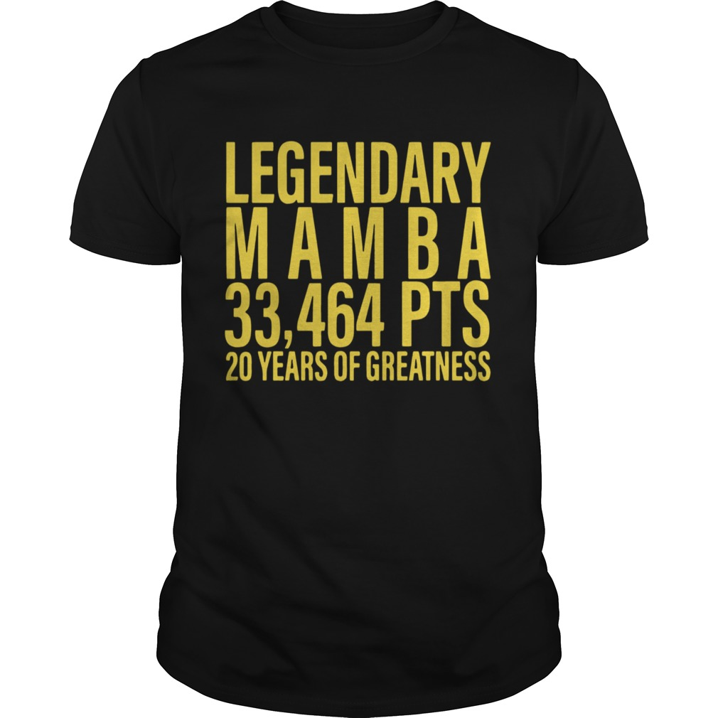 Legendary Mamba 33464 PTS 20 years of greatness  Unisex