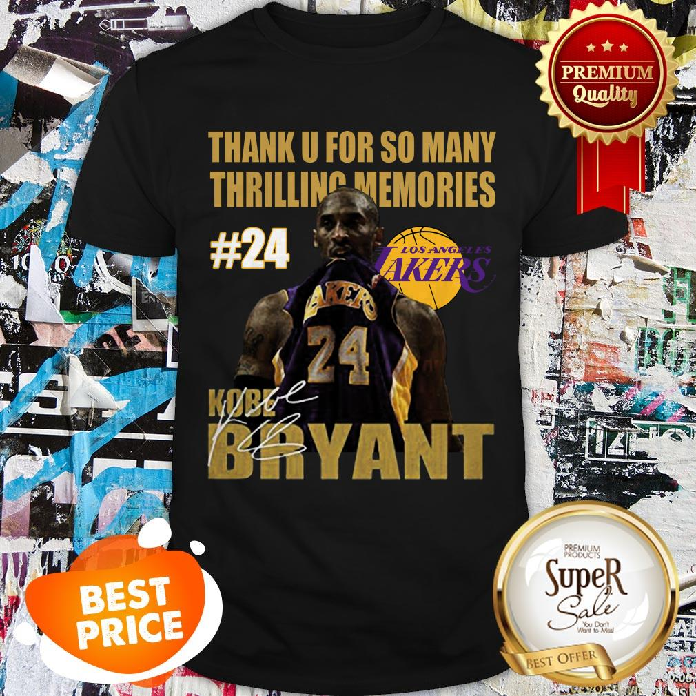 Thank U For So Many Thrilling Memories #24 Lakers Kobe Bryant Signed Shirt