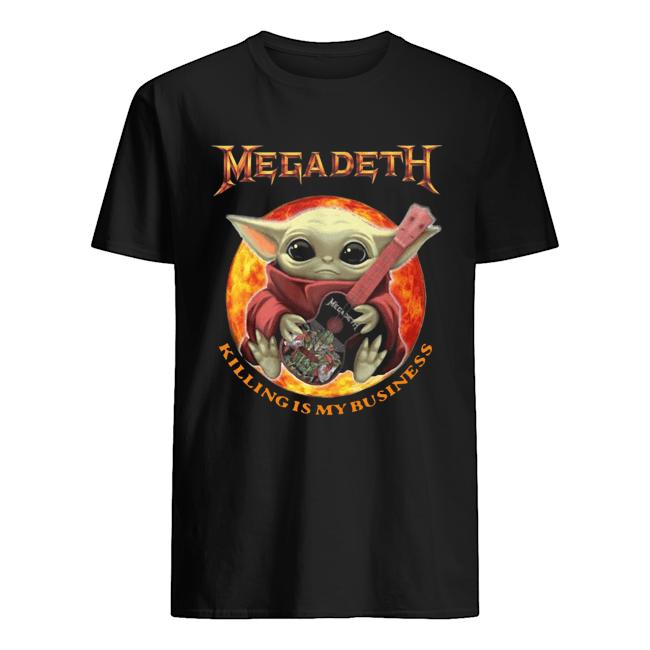Baby Yoda Hug Megadeth Guitar Killing My Business  Classic Men's T-shirt