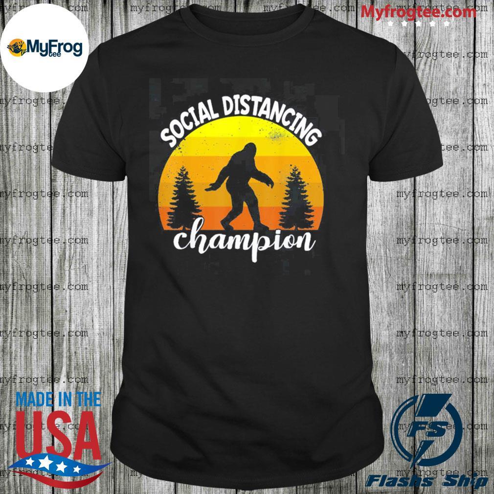 Bigfoot sasquatch conspiracy social distance champion vintage sunset shirt