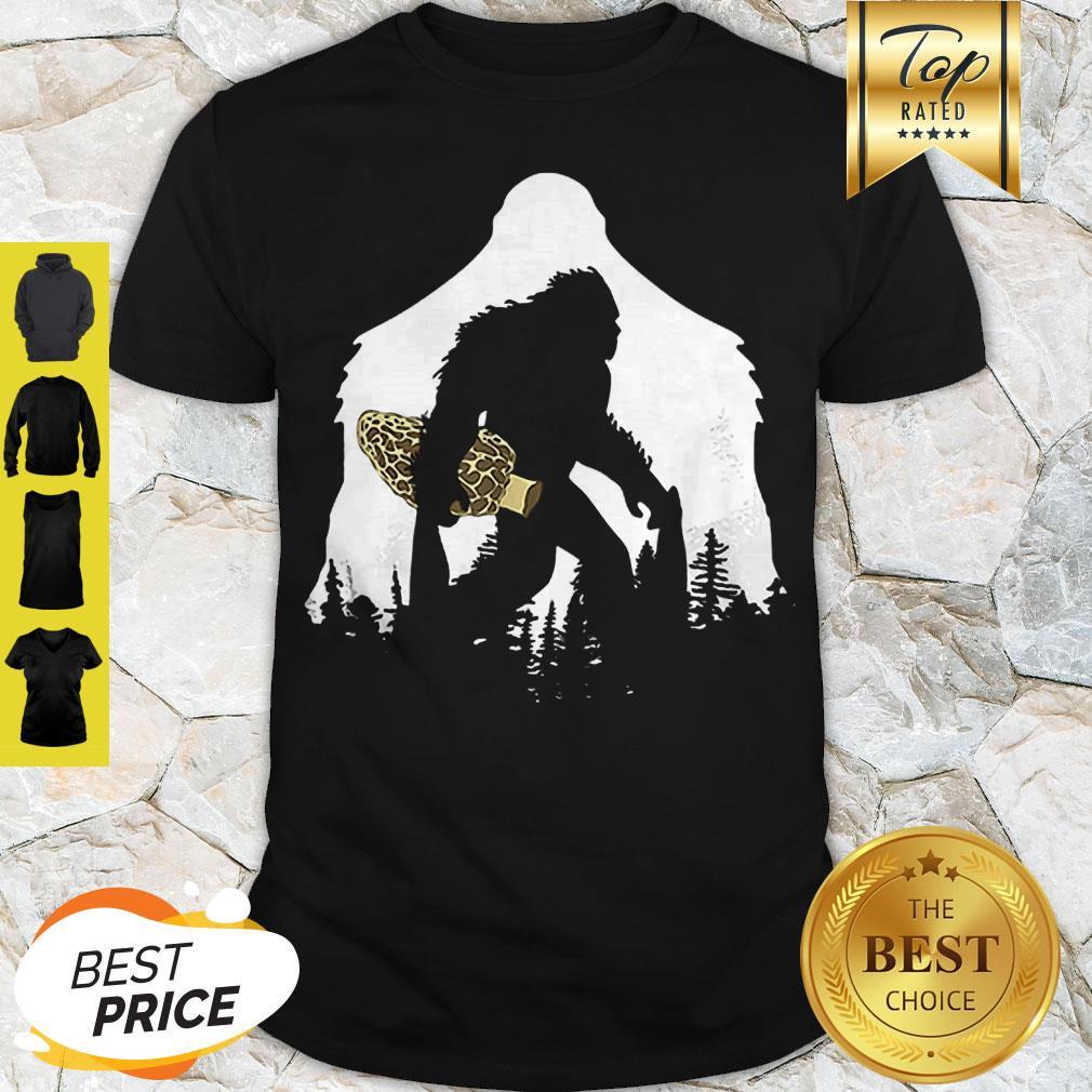 Good Bigfoot With Morel Mushroom Sasquatch Shirt
